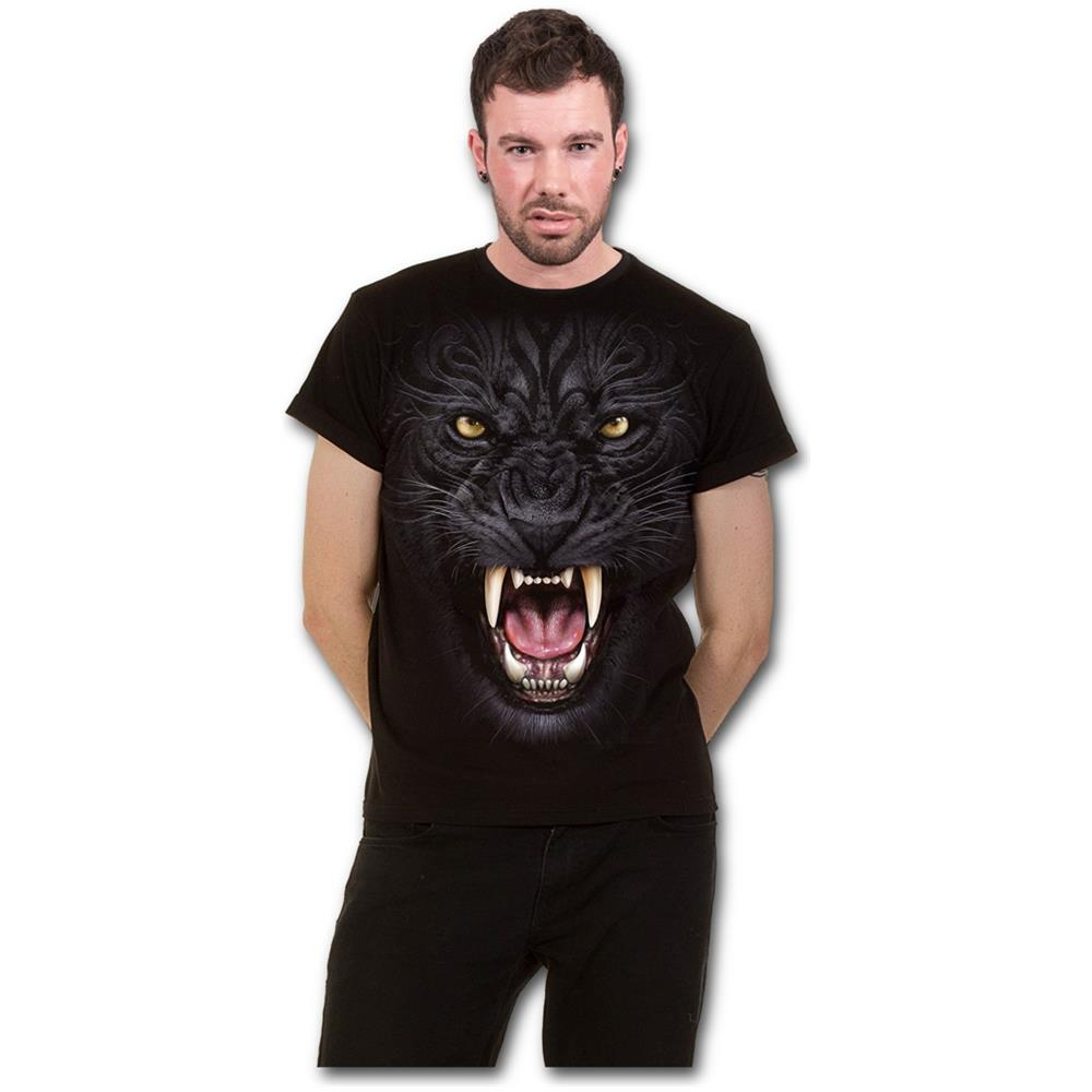 - Tribal Panther - Modern Cut Turnup Sleeve Black (T-Shirt Unisex Tg. Xl)