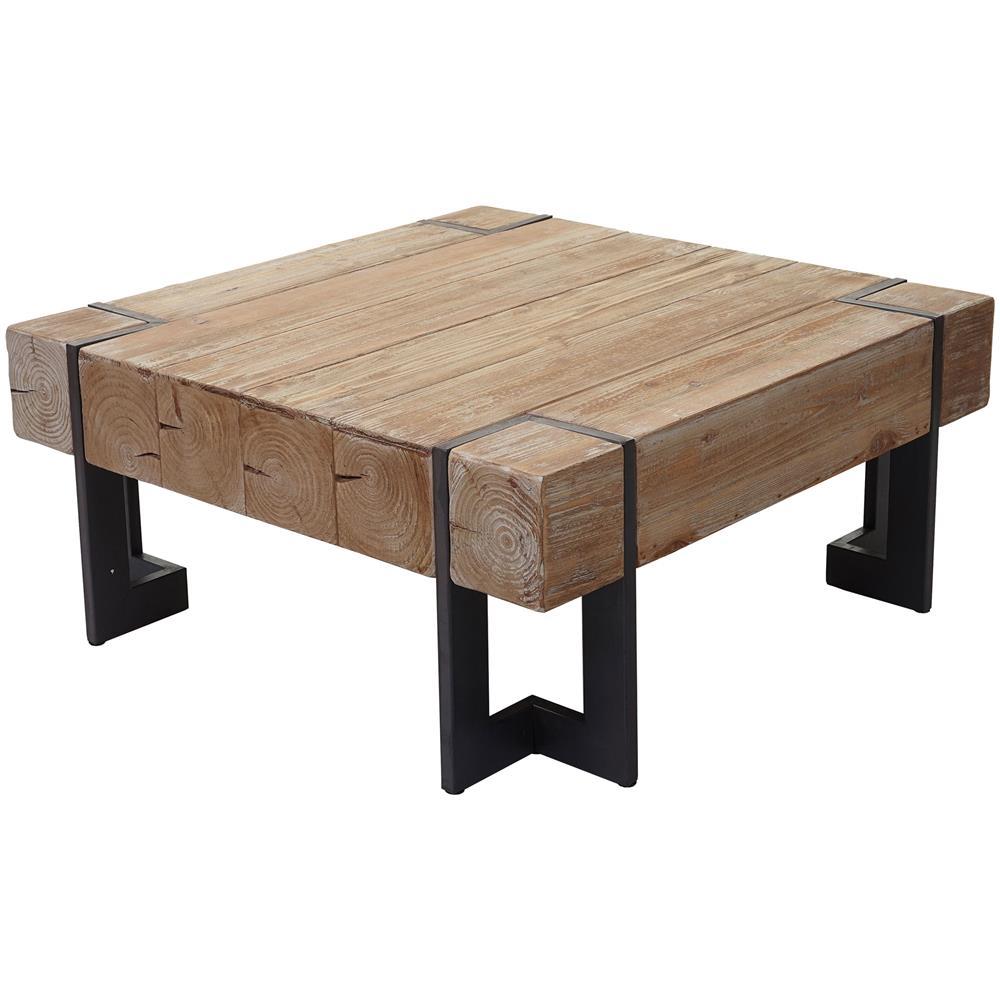 Mendler Tavolino Da Salotto Hwc-a15 Legno Di Pino Massello 40x90x90cm Piedi  Metallo