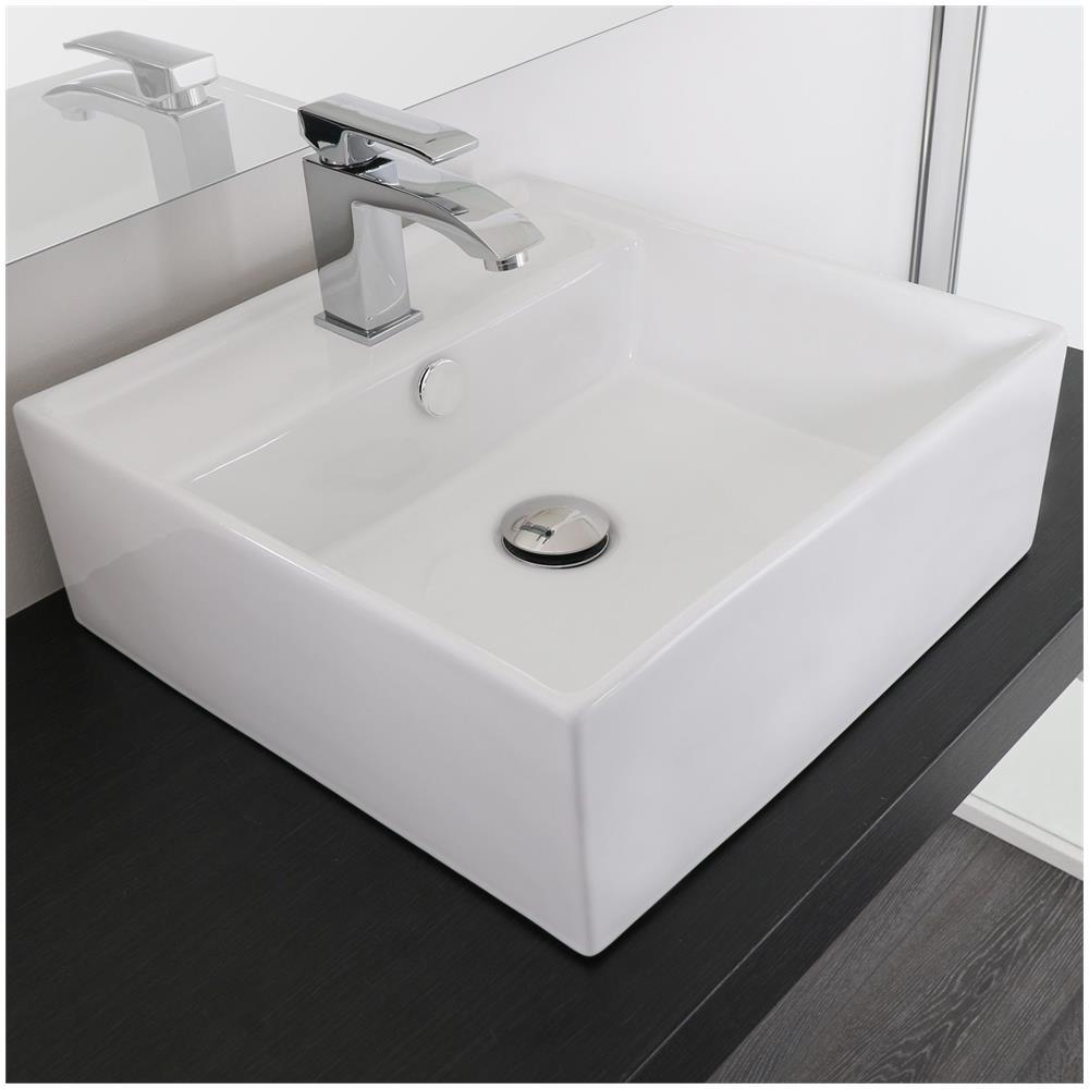 Piano Per Lavabo Da Appoggio bagno italia lavandino da appoggio rettangolare di dimensioni 41x41 cm in  ceramica con predisposizione per miscelatore
