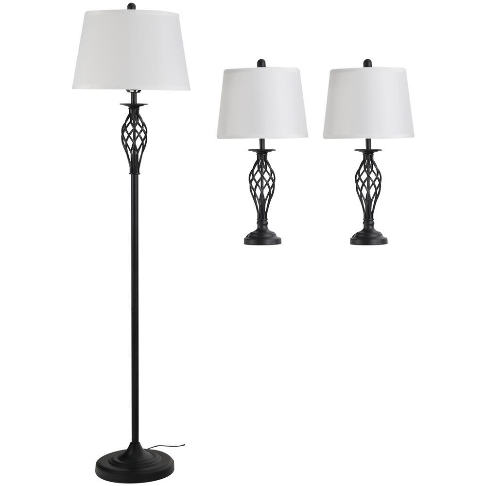 Homcom Set 3 Pezzi Lampada Da Terra E 2 Lampade Da Tavolo In Metallo Design Vintage Lampadine E27 Nero E Bianco Eprice