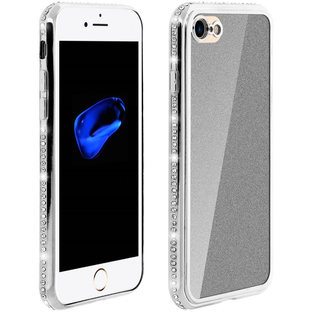 Avizar Cover Iphone 7 / 8 Con Paillette Contorno Strass Glitter Effect Argento
