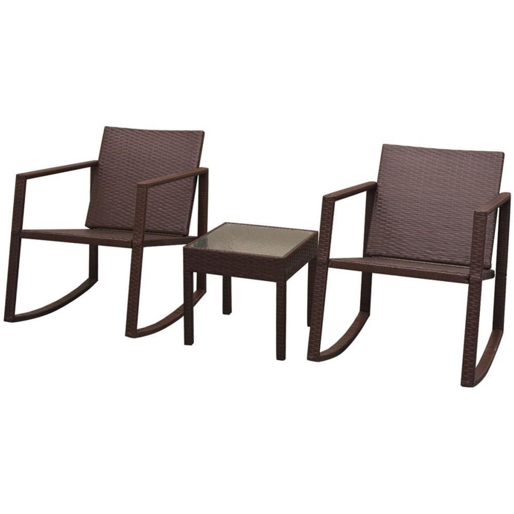 Tavolini E Sedie Da Esterno.Vidaxl 3 Pz Set Tavolino E Sedie A Dondolo Da Esterni Polyrattan