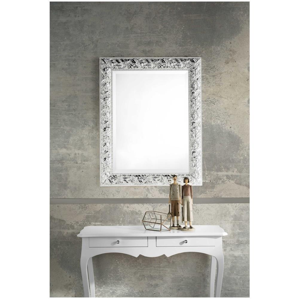 LIBEROSHOPPING Specchio Artemsia Con Cornice In Legno Bianco / argento  (grande)