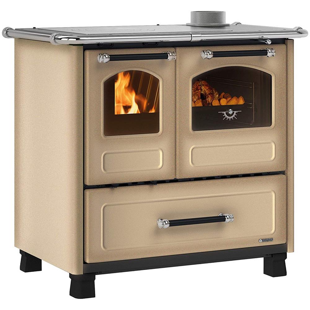 Stufa Economica A Legna nordica cucina a legna family 4,5 acciaio porcellanato potenza termica  nominale 9 kw 258 m3 riscaldabili colore cappuccino