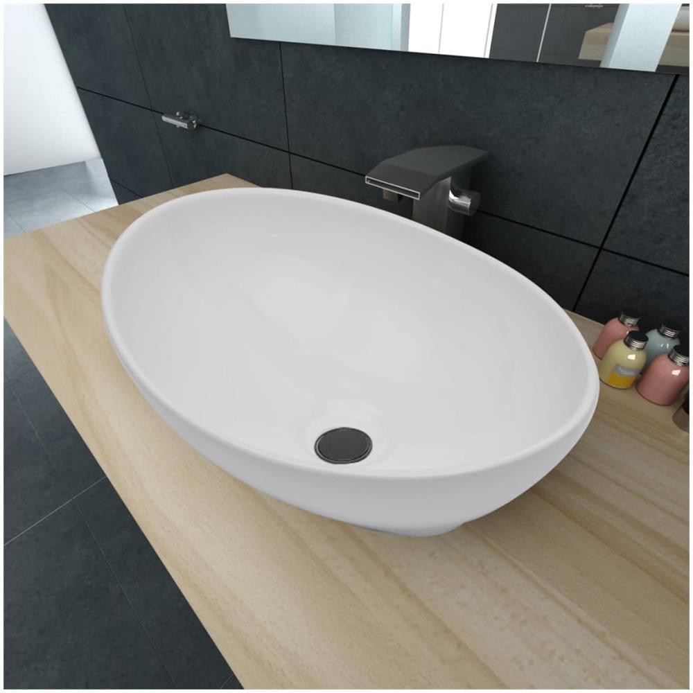 Lavello Cucina In Porcellana vidaxl lavello in ceramica a forma ovale dimensioni 40 x 33 cm colore bianco