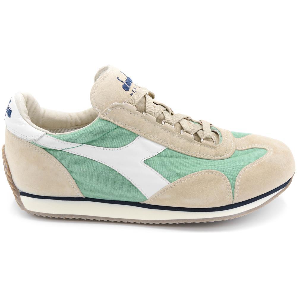 DIADORA Heritage Sneakers Uomo Nuovo Equipe Stone Wash Camoscio Menta  Grigio Tela Art. 156988 Taglia. Zoom b6d203841de