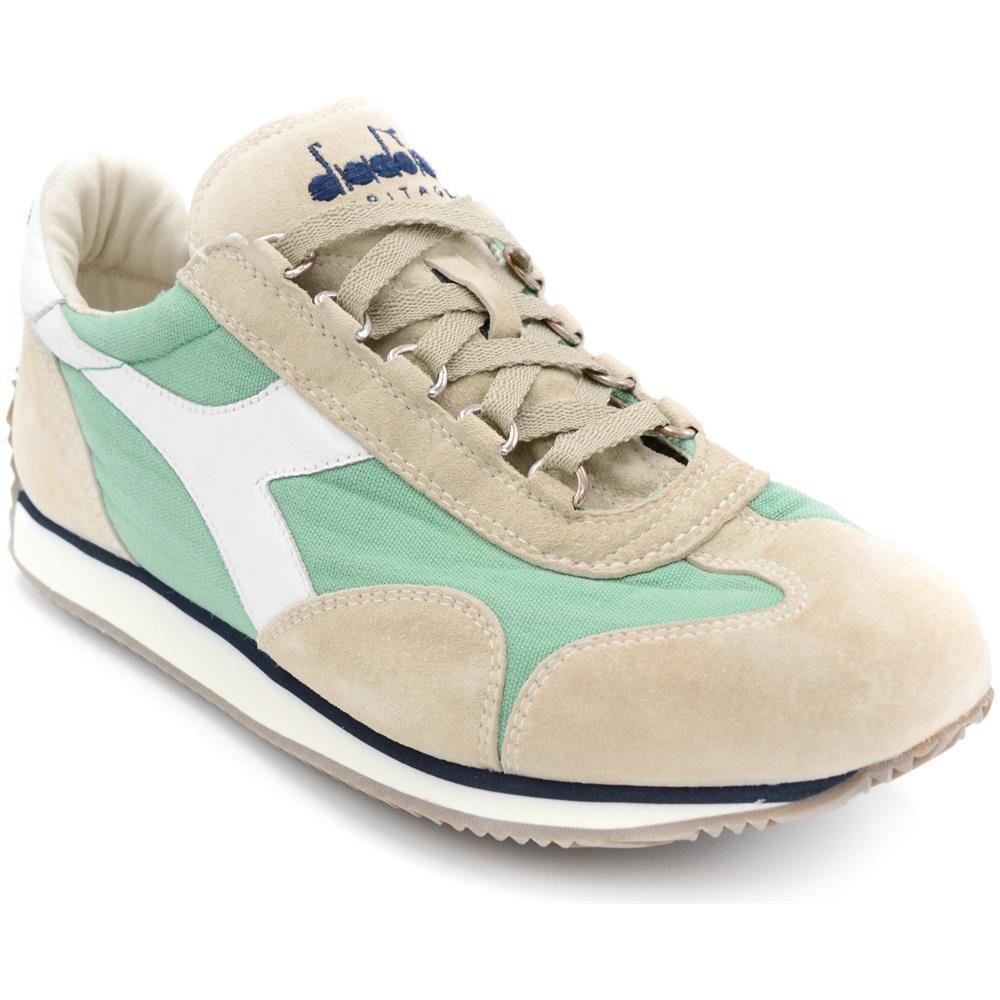 DIADORA Heritage Sneakers Uomo Nuovo Equipe Stone Wash Camoscio Menta  Grigio Tela Art. 156988 Taglia  40 55f181460de