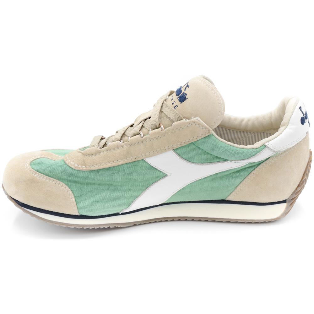 DIADORA Heritage Sneakers Uomo Nuovo Equipe Stone Wash Camoscio Menta  Grigio Tela Art. 156988 Taglia  40 1cb30203bf2
