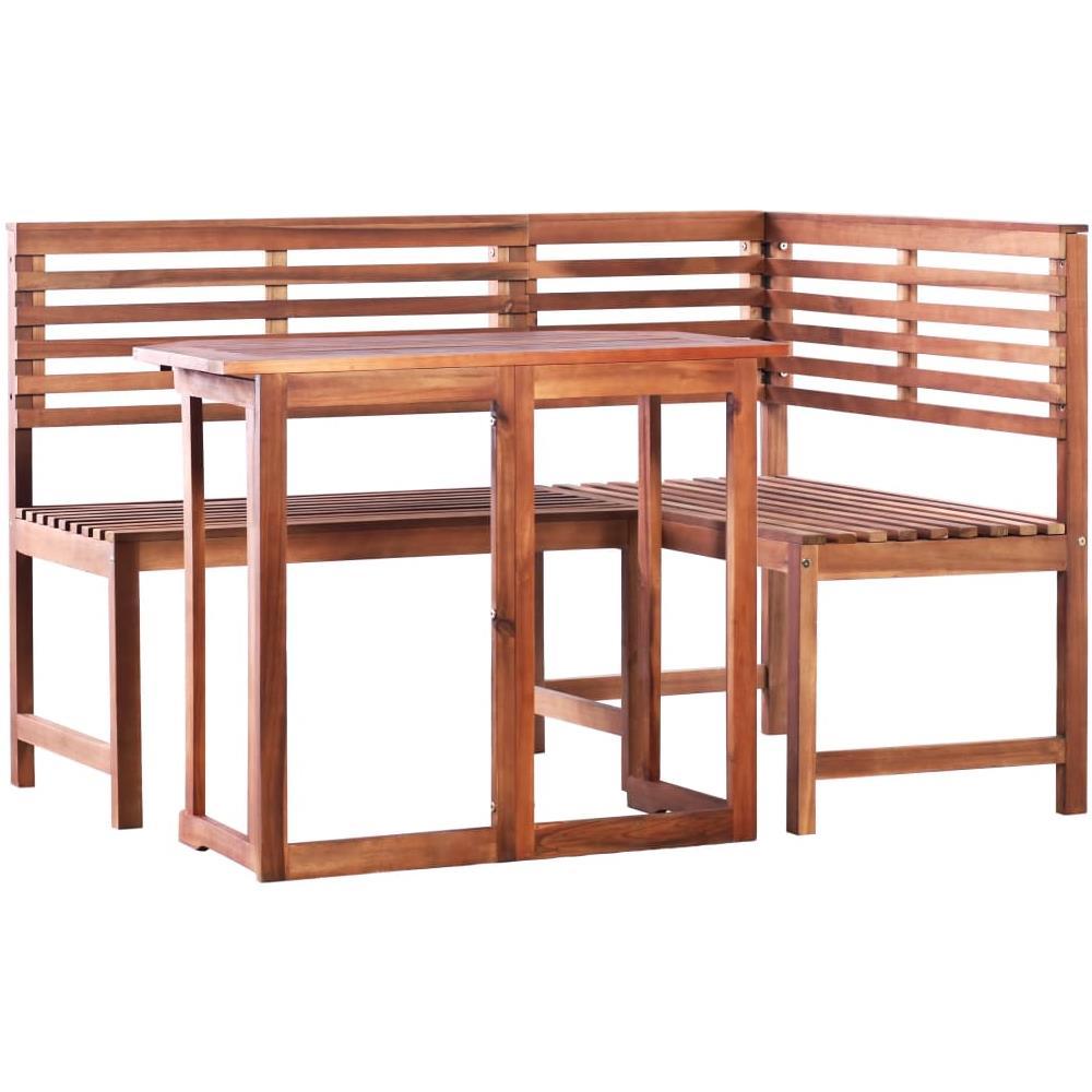 Panca Angolare In Legno Massiccio.Vidaxl Set Tavolo Da Balcone E Panca Ad Angolo 2pz Massello Di Acacia Eprice