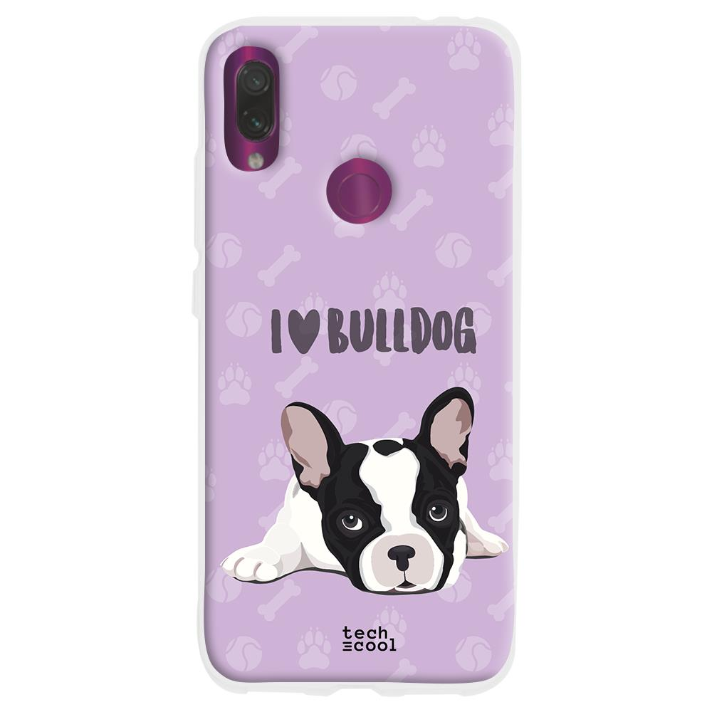 TECHCOOL Custodia Per Xiaomi Redmi Note 7 / Note 7 Pro L Cover Silicone Amo Bulldog Francese Pet Sfondo Viola