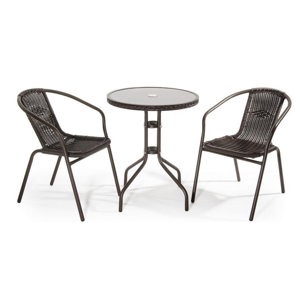 Tavolo Da Giardino Metallo.Verdelook Set Da Giardino Composto Da 1 Tavolo E 2 Sedie In