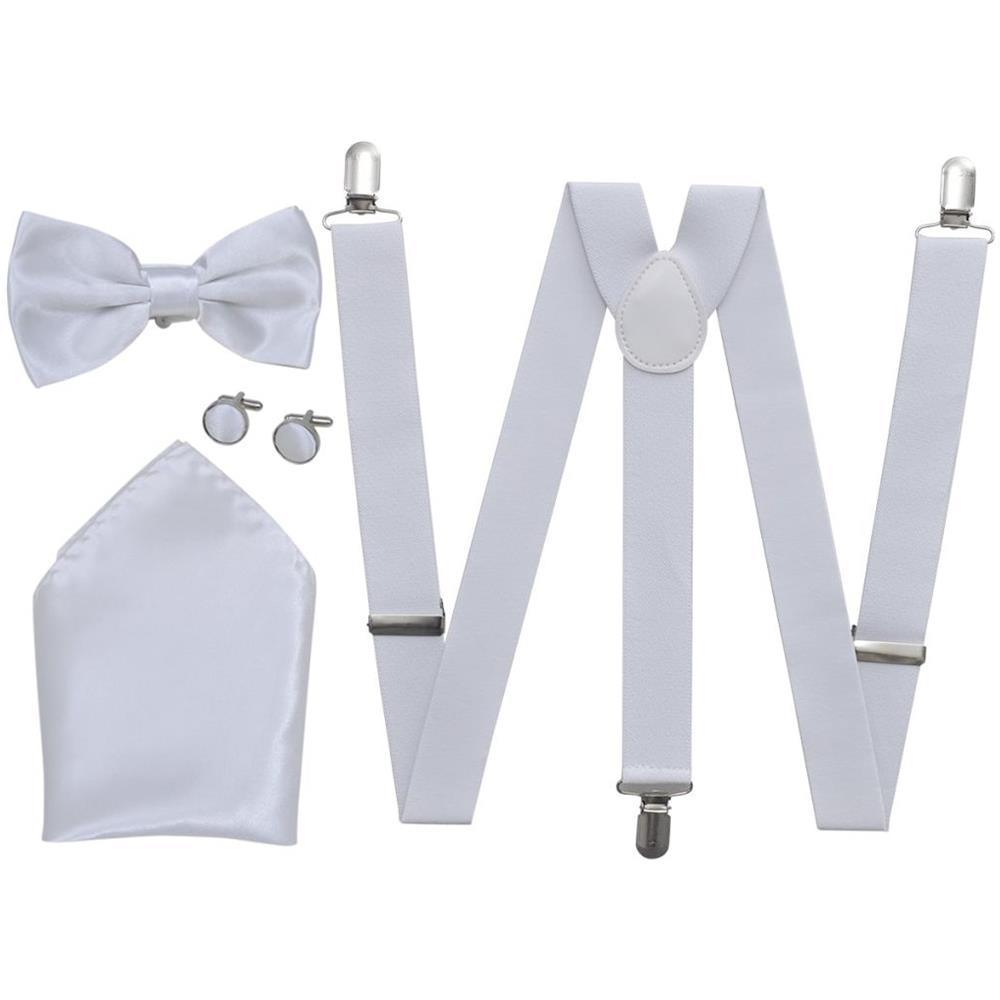 scarpe da corsa di modo attraente sentirsi a proprio agio Vidaxl Set Elegante Accessori Smoking Uomo Bretelle Papillon Bianco