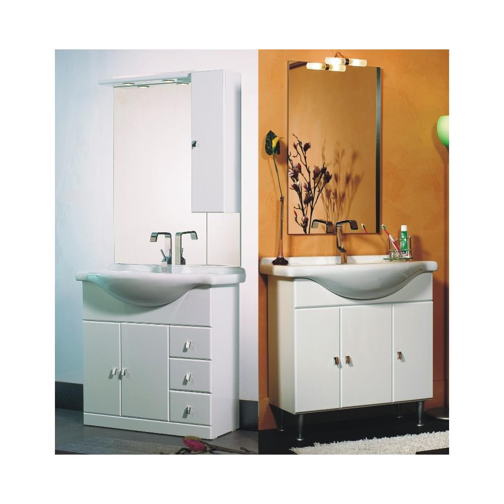 Bagno Italia Arredo Bagno A Terra Bianco Lucido 85 Cm Lavandino Ceramica Integrale Specchio Con Tettino Eprice