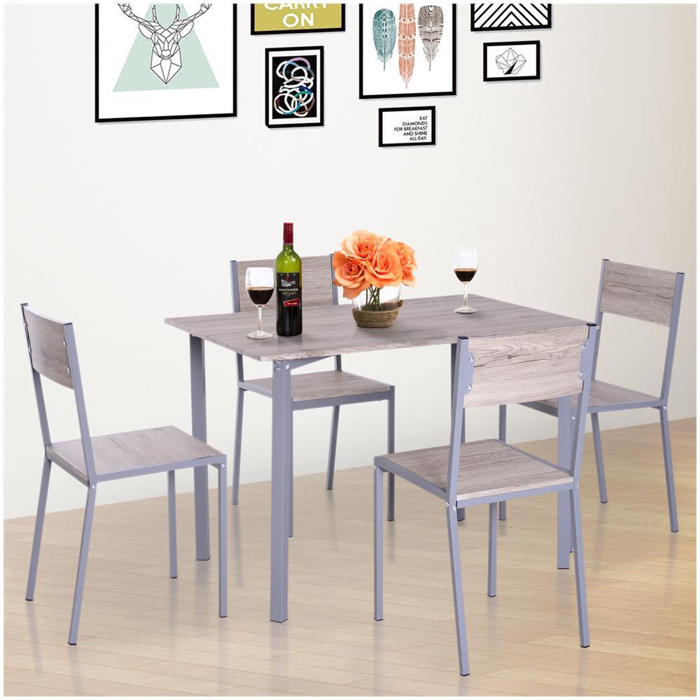 Sedie Cucina Metallo E Legno.Homcom Set Tavolo Da Pranzo Con 2 Sedie Per Casa E Cucina