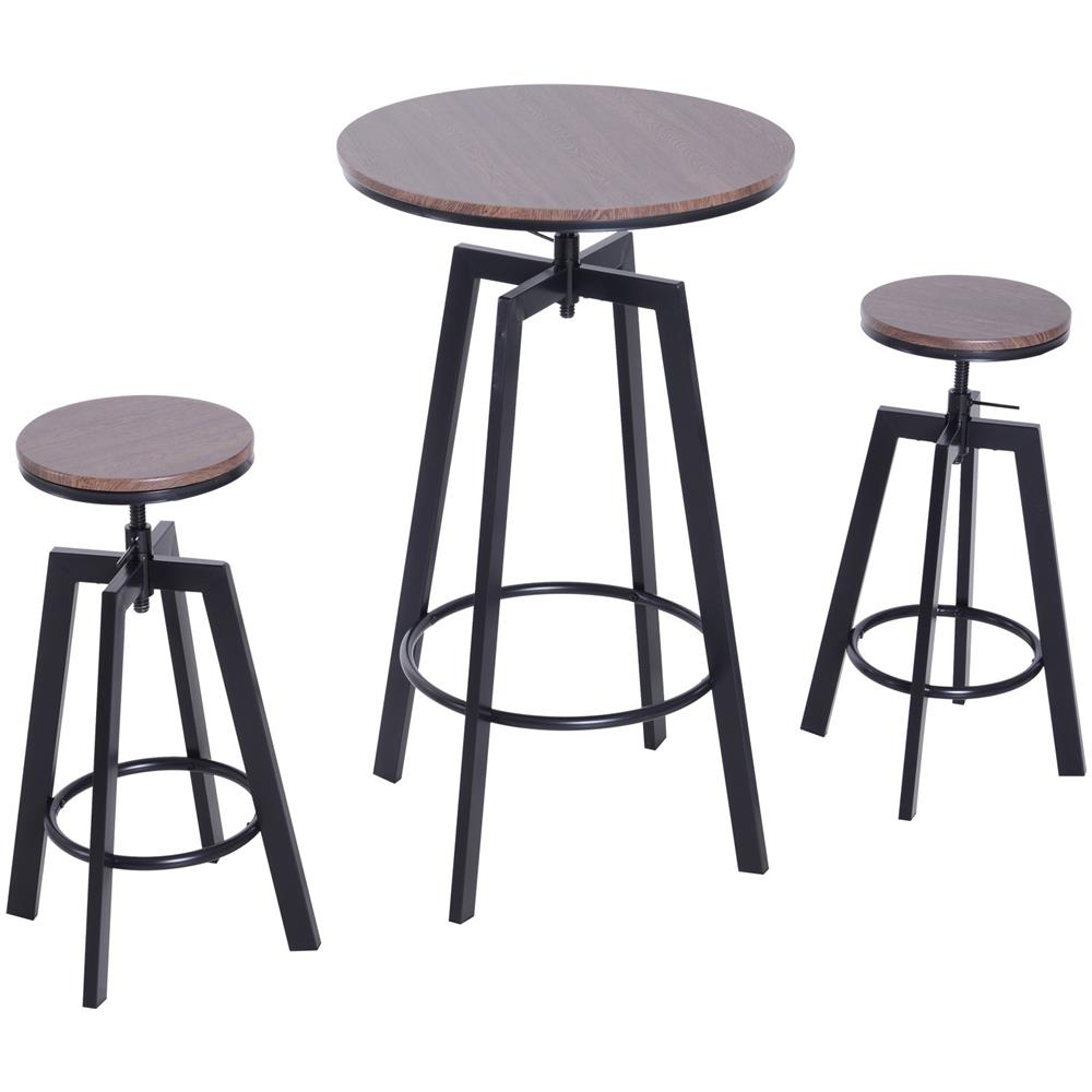 Sgabelli Legno Da Bar.Homcom Set Da Bar Stile Industrial Tavolino E 2 Sgabelli Altezza
