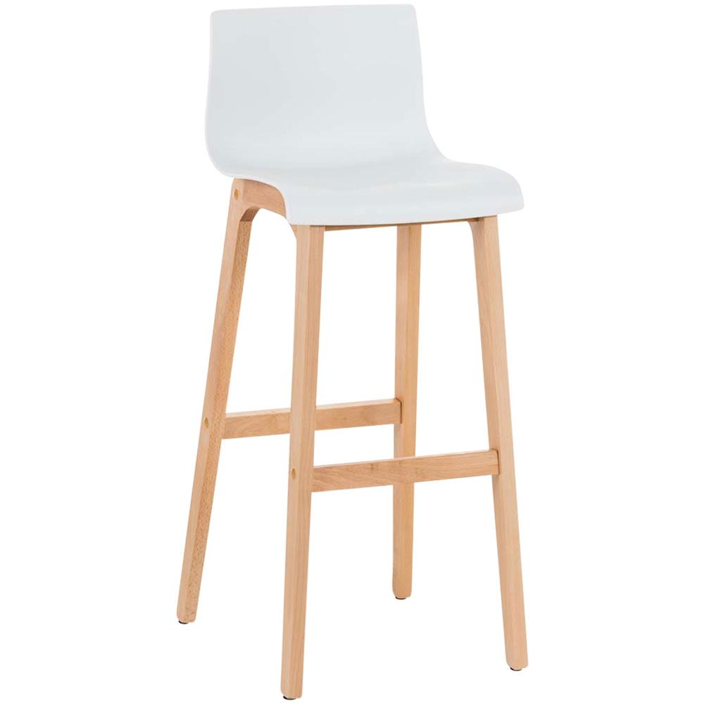 Sedie A Forma Di Sedere Costo clp sgabello design hoover in polipropilene e legno naturale i sgabello  alto bancone, alt. 77cm i sedia cucina per penisola con schienale bianco