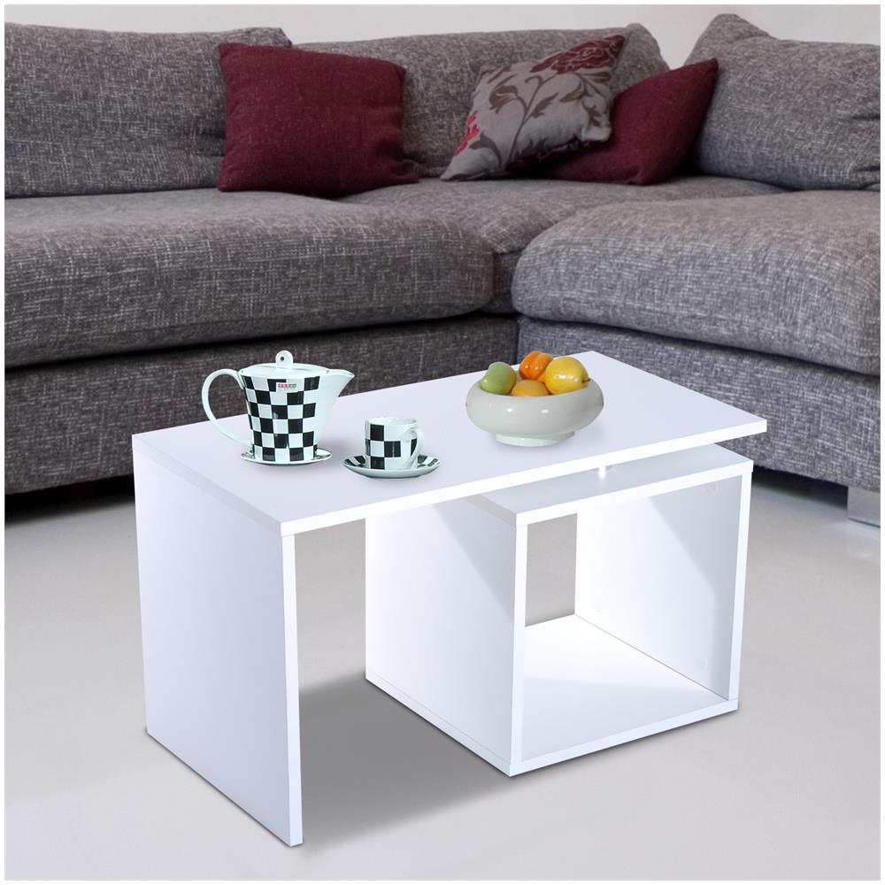 HomCom Moderno Tavolino Da Salotto In Legno Mdf, Bianco, 77x40x44cm