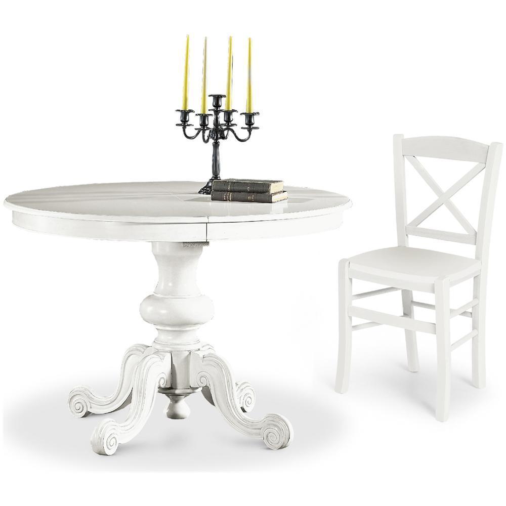 tavolo pieghevole legn tondo bianco