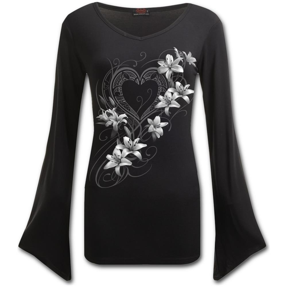 - Pure Of Heart - V Neck Goth Sleeve Top Black (Maglia Manica Lunga Donna Tg. L)