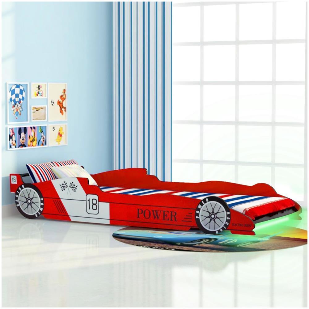 VIDAXL - Letto Con Luci Led Per Bambino Auto Da Corsa 90x200 Cm ...