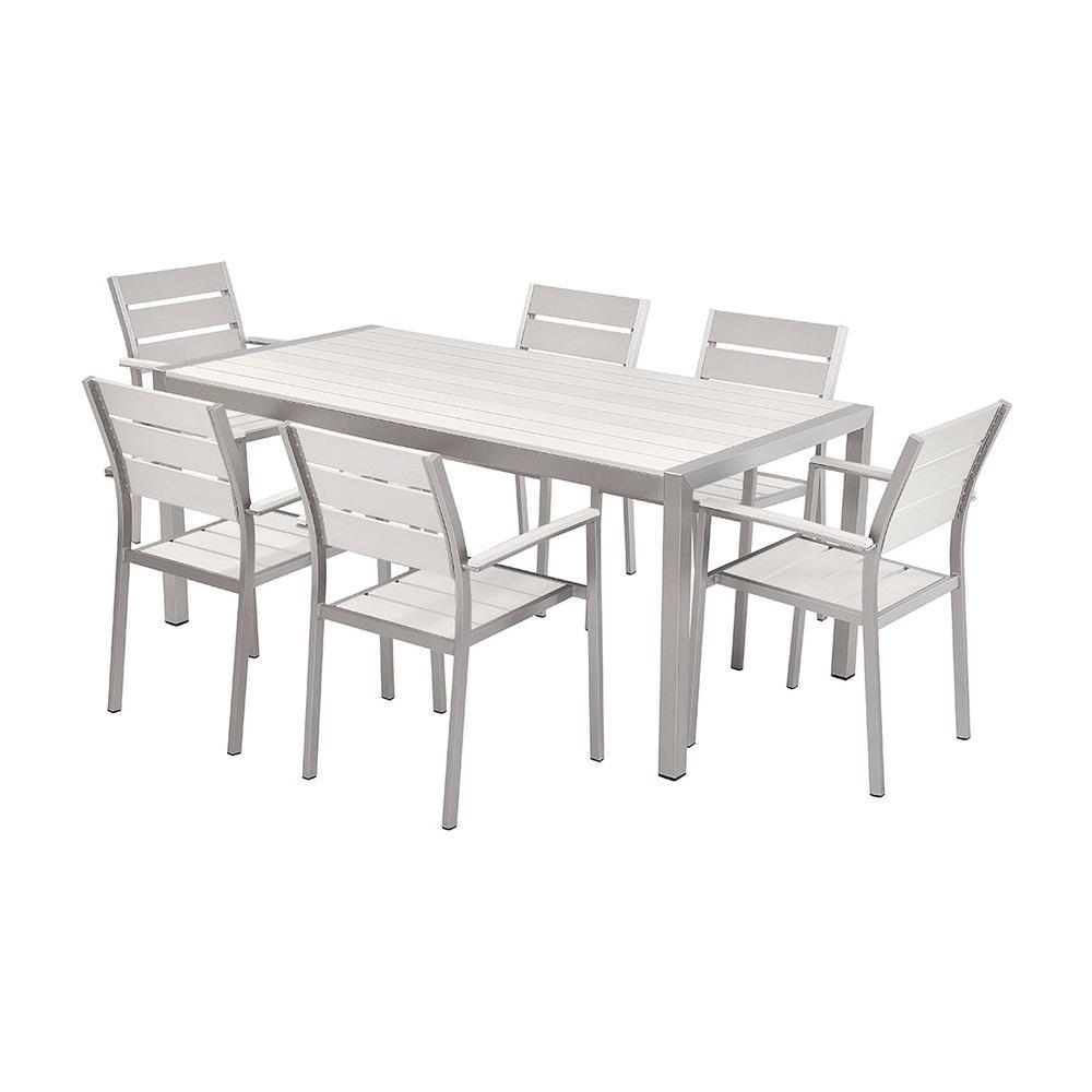 Set Tavolo E Sedie.Beliani Set Di Tavolo E Sedie Da Giardino In Alluminio E Legno
