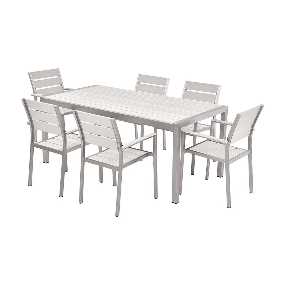 Tavolo Da Giardino Legno Bianco.Beliani Set Di Tavolo E Sedie Da Giardino In Alluminio E Legno