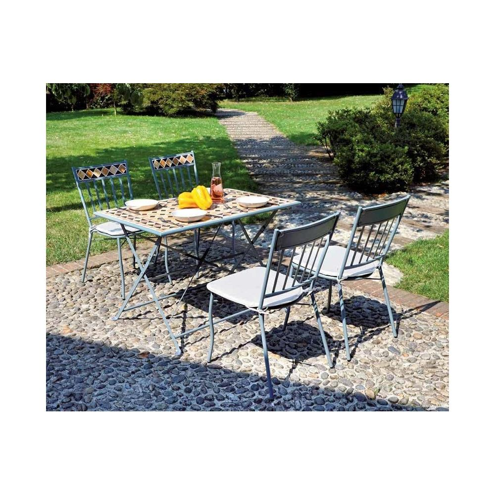 Sedie E Tavoli In Ferro Per Giardino.Gruppo Maruccia Set Tavolo E Sedie Da Giardino In Ferro E Mosaico