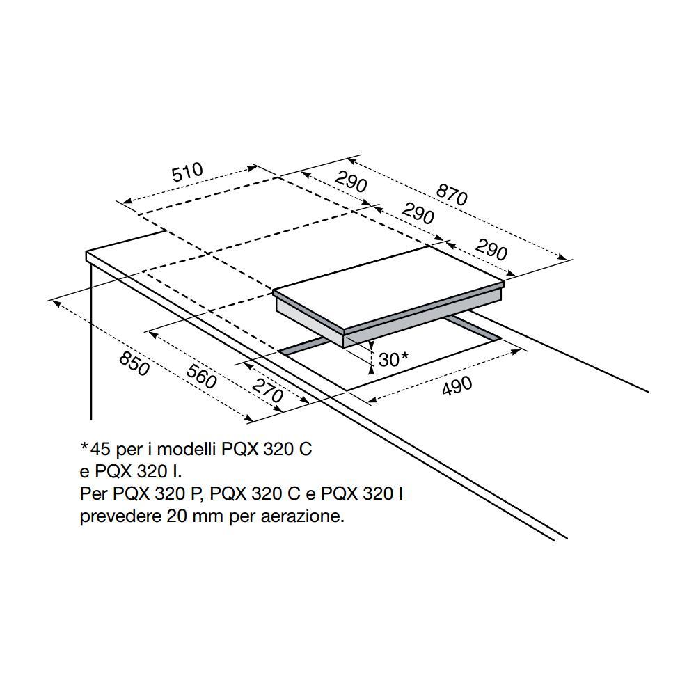 Misure Standard Piano Cottura Cucina electrolux piano cottura pqx320i a induzione 2 zone cottura da 30 cm colore  nero