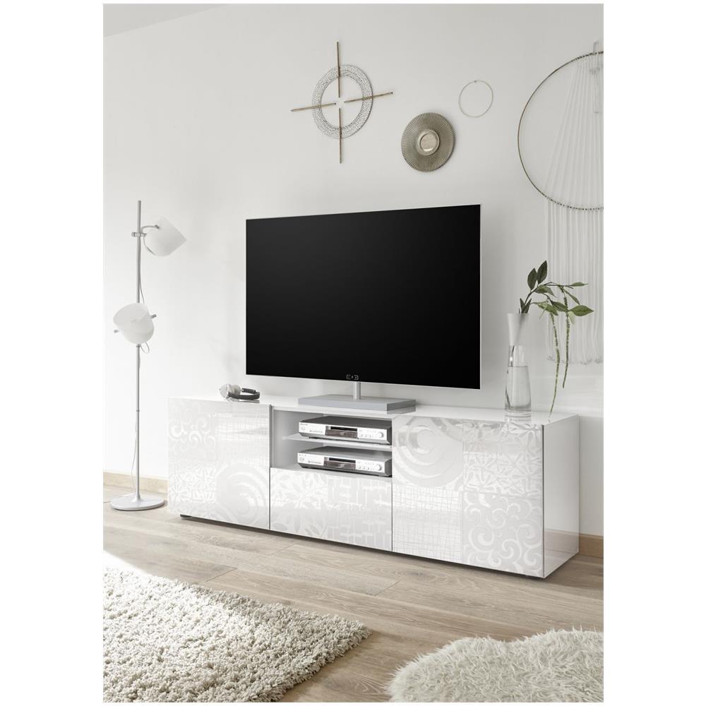 Mobile Tv Bianco Lucido.Web Convenienza Miro Porta Tv Contenitore 2 Ante 1 Cassetto Bianco