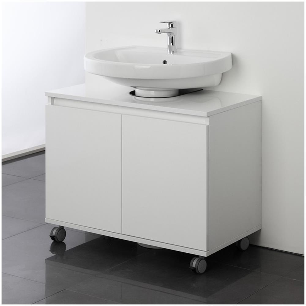 Feridras Mobile Bagno Sottolavabo 80 Cm Con Ruote Bianco Copricolonna  Moderno