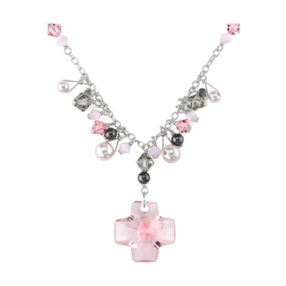 9a58270417e683 Blue Pearls - Cristallo Croce Collana E Perline Swarovski Elements Rosa E Argento  925 - Bps 9003 P - ePRICE