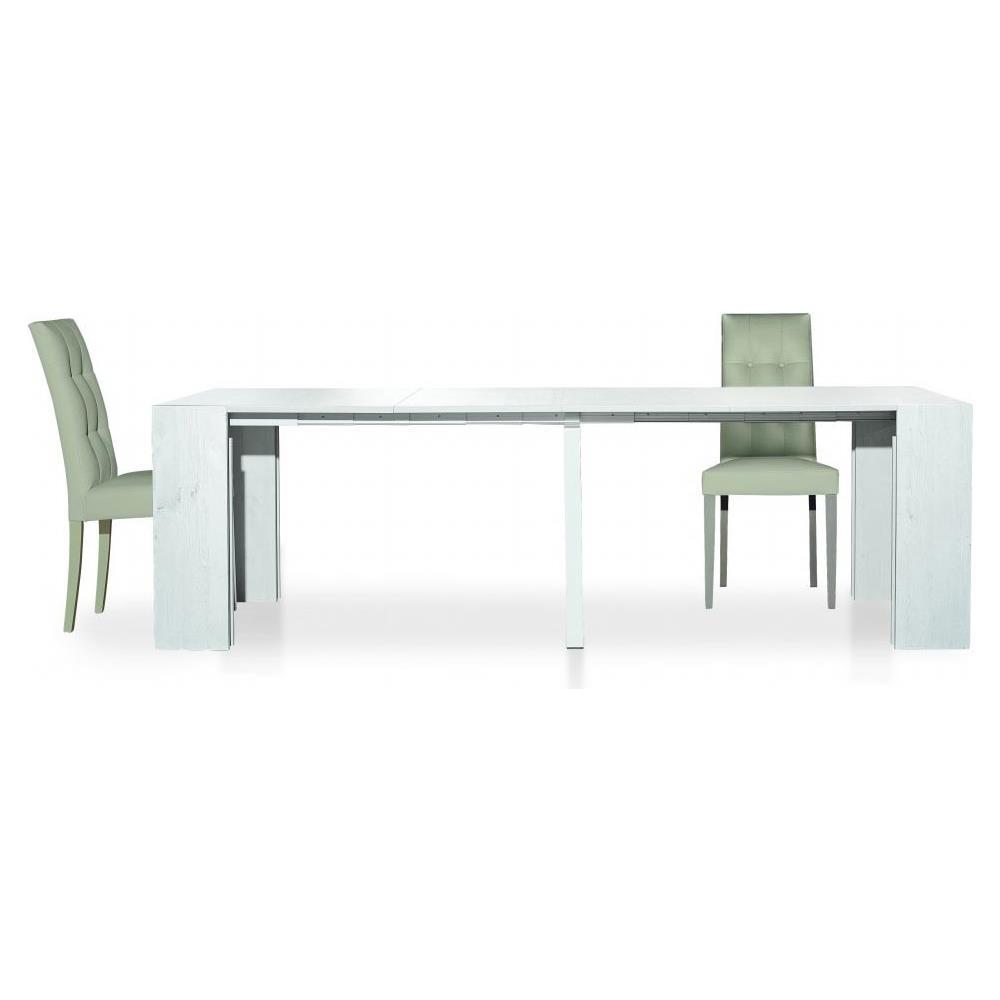 MilaniHome Tavolo Consolle Rettangolare Allungabile Bianco 90 X  45/95/145/195/245/295 Per Interno Sala Da Pranzo Salotto Cucina Moderno