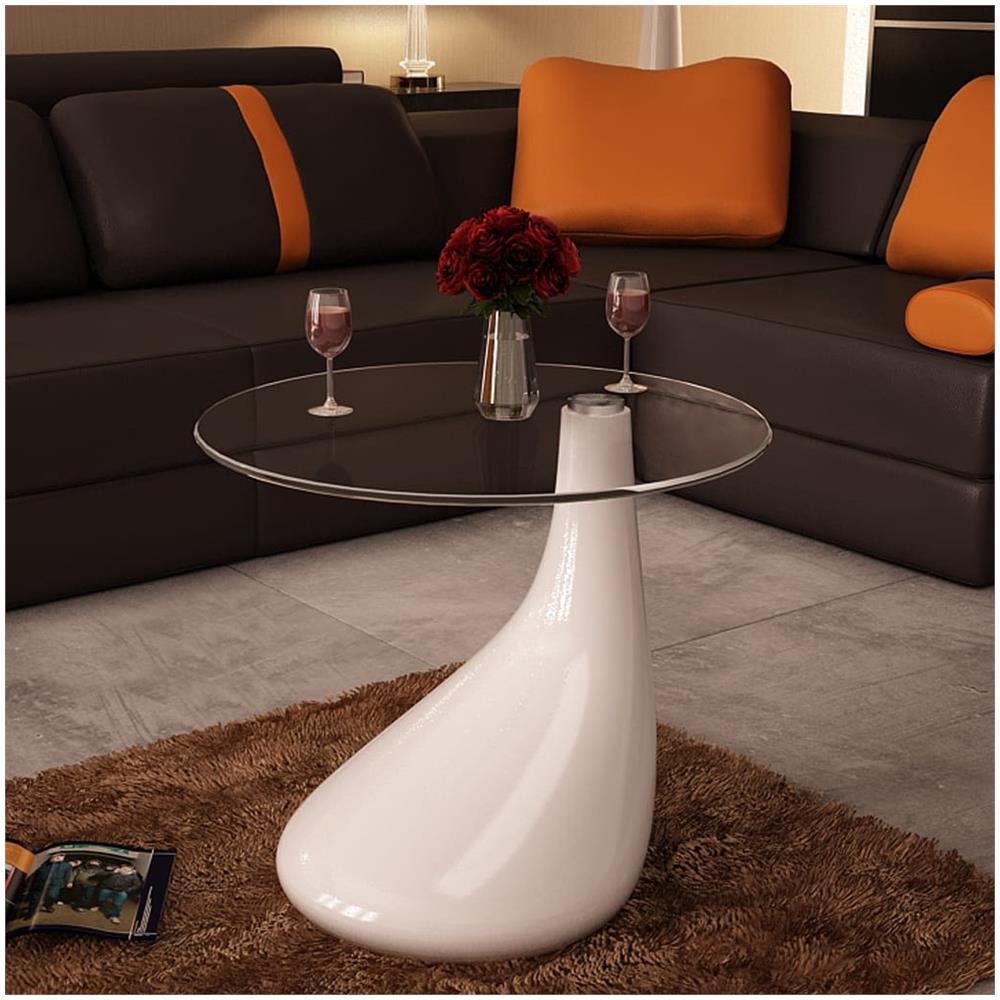 Tavoli Da Salotto In Vetro.Vidaxl Tavolino Da Salotto Moderno In Vetro Design A Goccia Colore Bianco