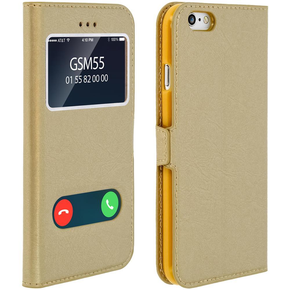 Avizar Custodia Iphone 6 / 6s Sportellino 2xfinestre Cover Silicone Oro