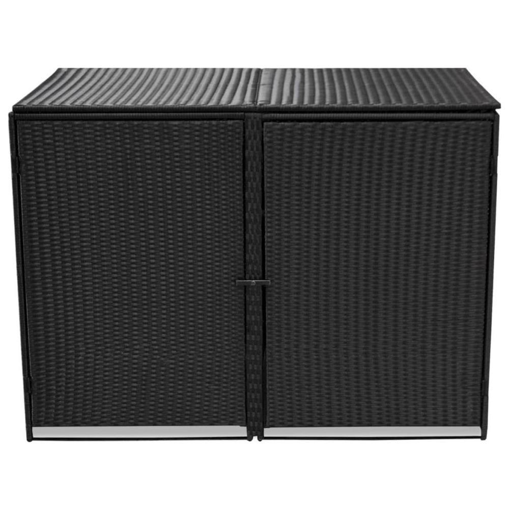 Box Per Bidoni Spazzatura vidaxl copribidone doppio per spazzatura polirattan nero 148x80x111 cm