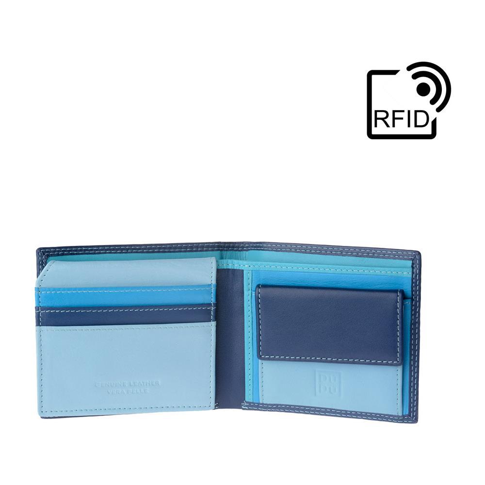 96515b5449 DuDu - Portafoglio Piccolo Colorato Da Uomo In Pelle Nappa Con Portamonete  Porta Carte E Banconote Blu - ePRICE