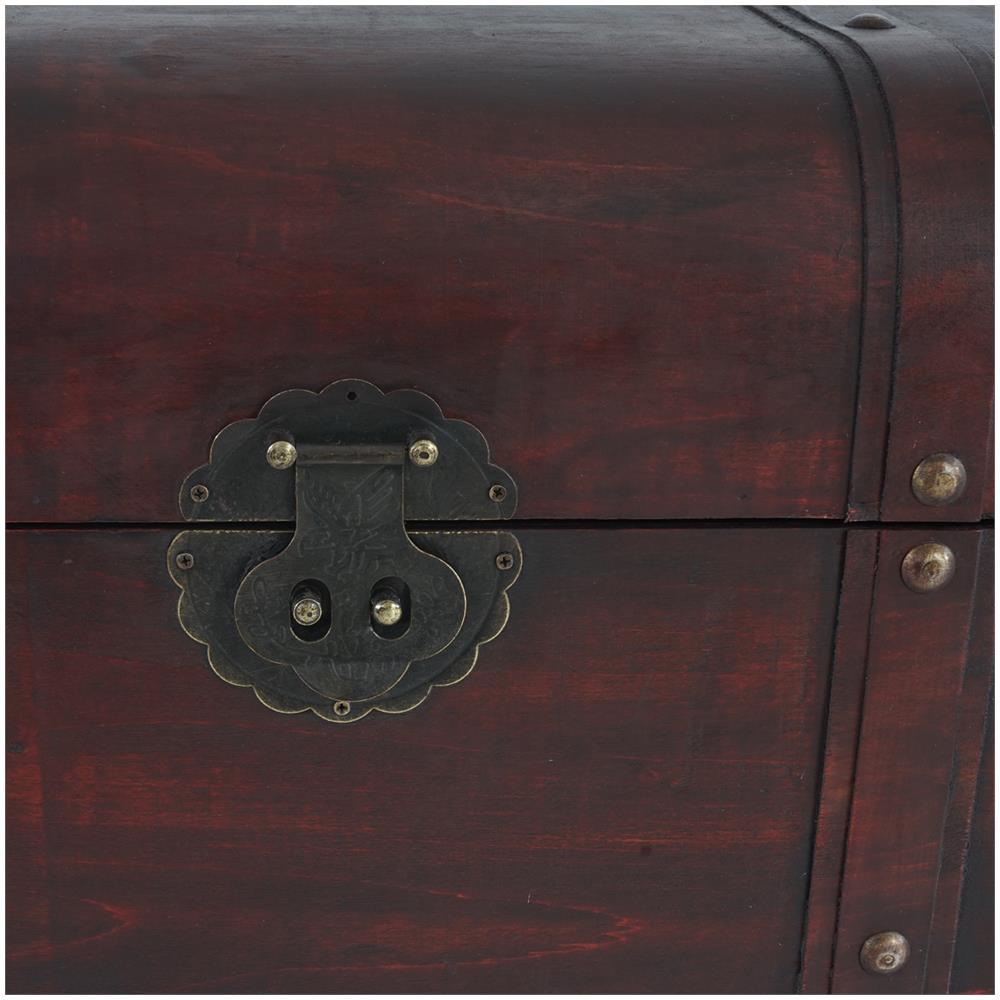Baule forziere Valencia decorativo legno bordi arrotondati 29x57x30cm ~ versione L