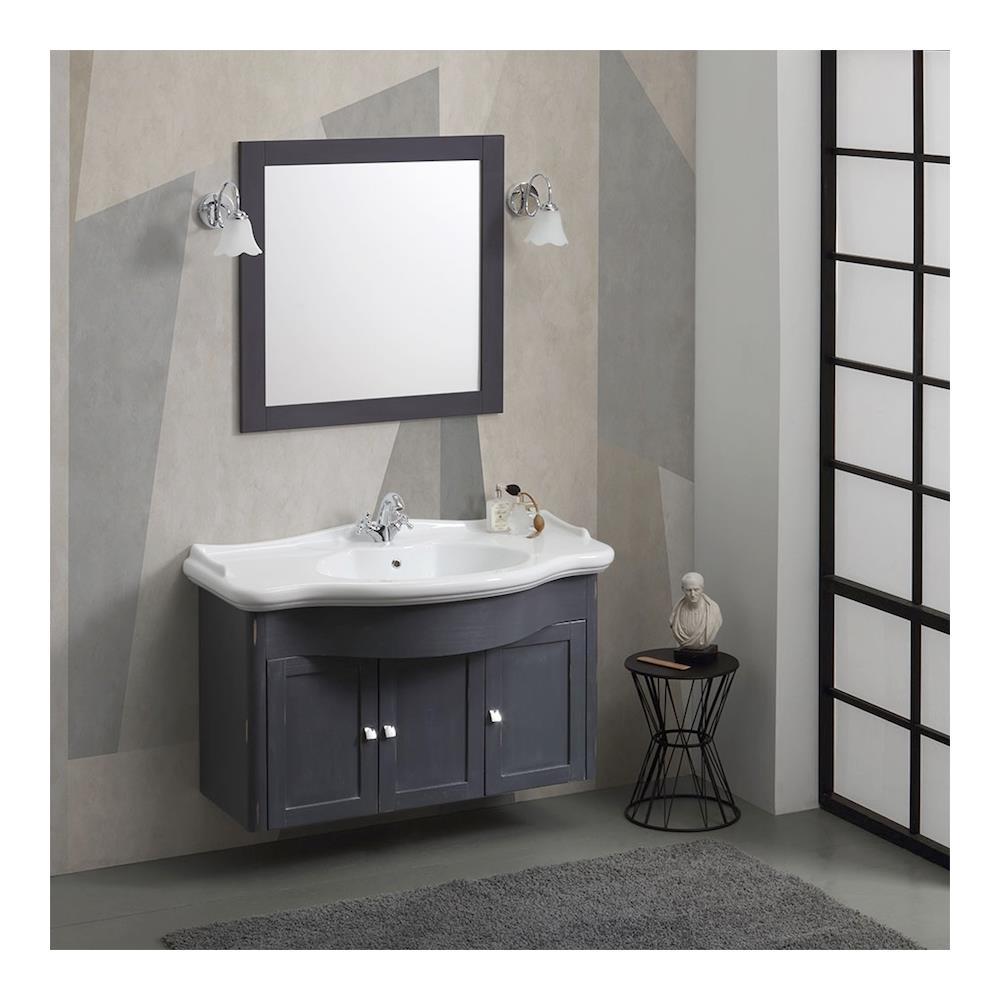 KIAMAMI VALENTINA Mobile Bagno Shabby Sospeso Cm 114 Con Lavabo E Specchio  Marsiglia