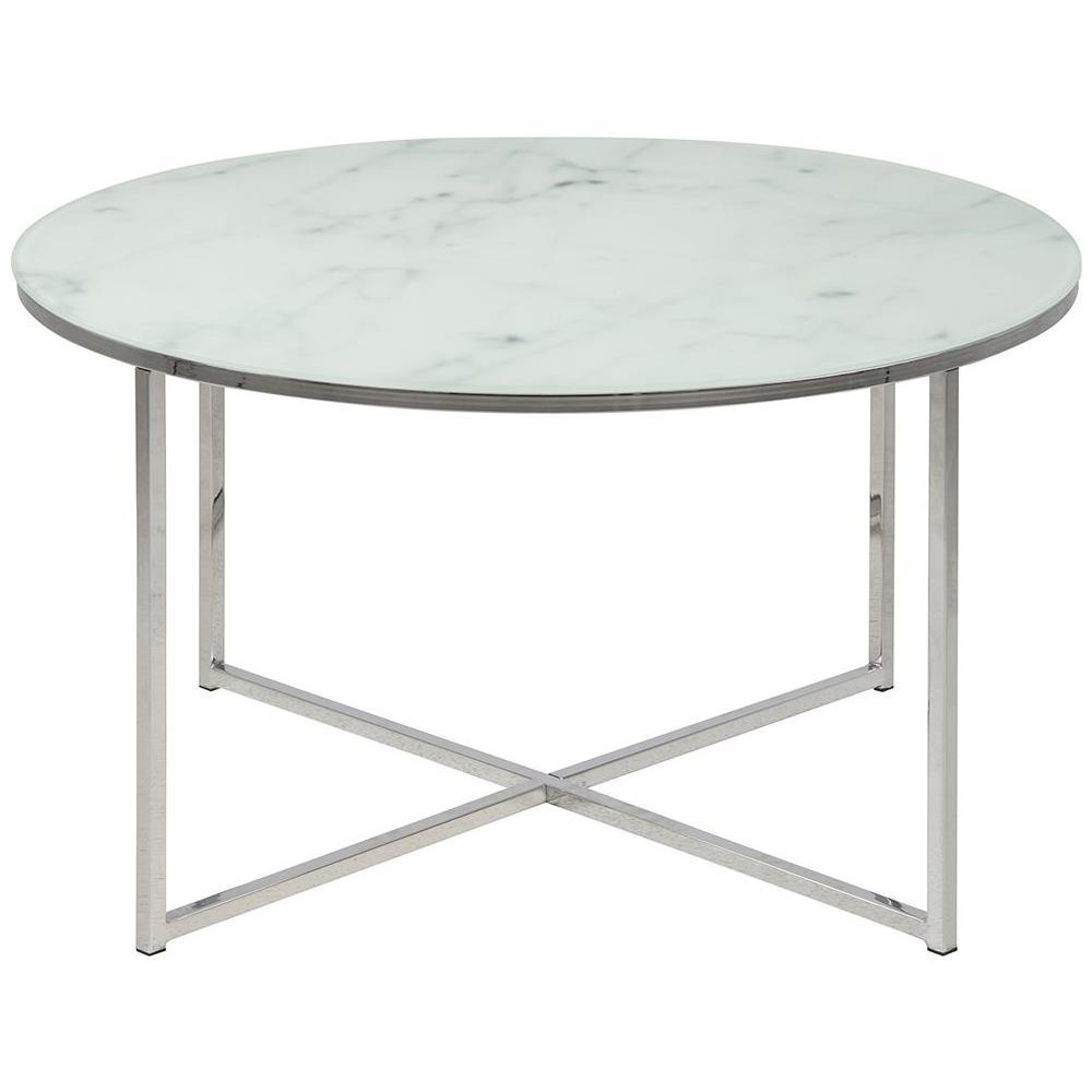 Tavolino Basso Rotondo.Miliboo Tavolino Basso Rotondo Effetto Marmo Bianco E Piedi In Metallo 80 Cm Alcino