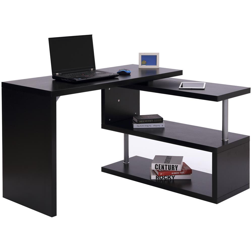Scrivania Angolare Computer.Homcom Scrivania Angolare Per Computer Con Scaffali In Legno Nero