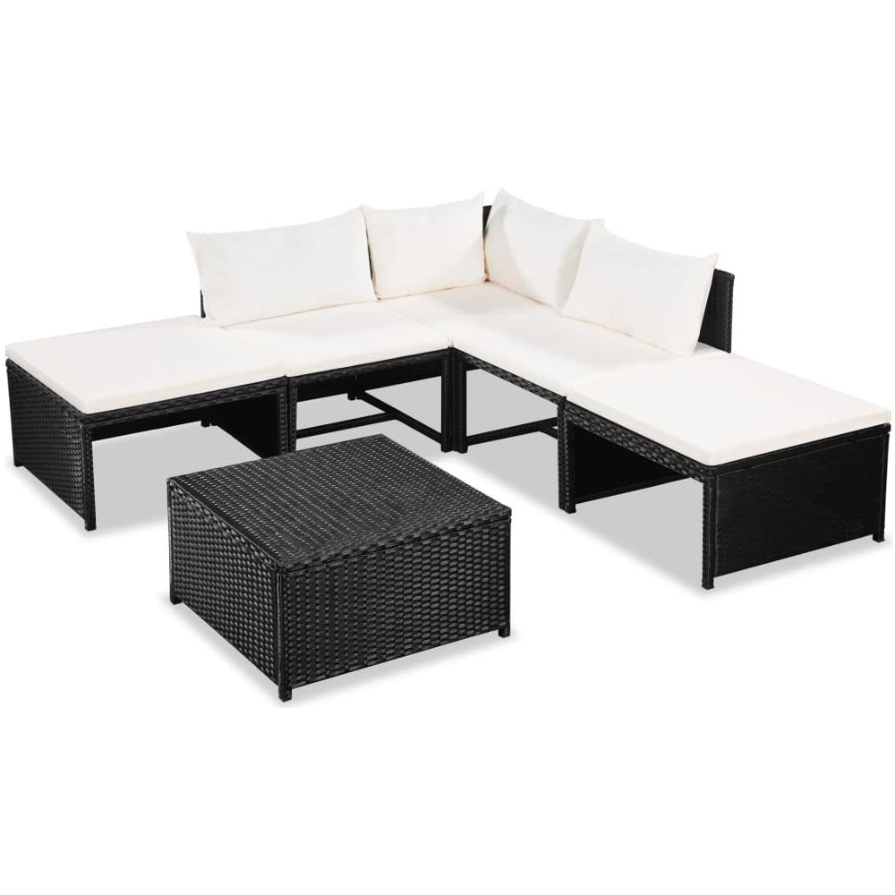 Divani Da Esterno Impermeabili vidaxl set divani da giardino 6 pz con cuscini in polyrattan nero