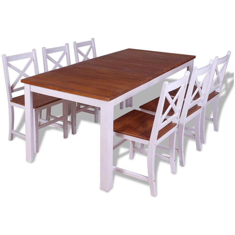 VIDAXL Set 7 Pz Sedie / tavolo Sala Da Pranzo In Legno Massello Di Teak