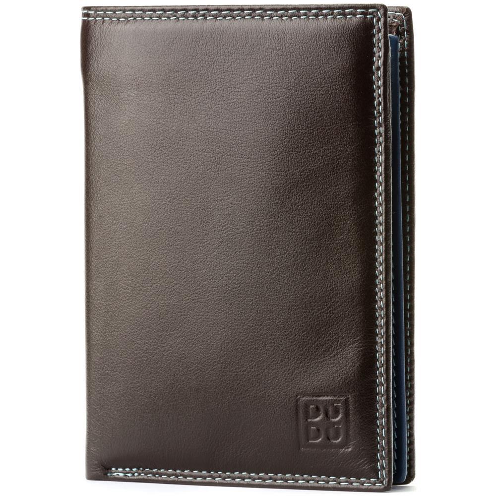98961977b7 DuDu Portafoglio Uomo Verticale A Libro In Vera Pelle Multicolore Con  Cerniera Lampo Zip E Porta Carte Woods