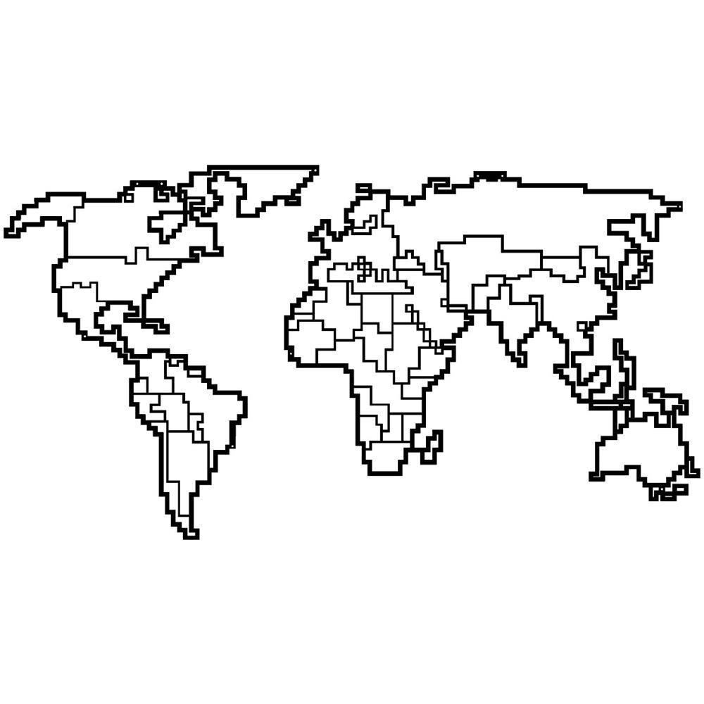 Cartina Del Mondo On Line.Homemania Decorazione Da Parete World Map 11 Wall Art Muro Mappa Del Mondo Per Soggiorno Camera Ufficio Nero In Metallo 100 X 0 15 X 53 Cm Eprice