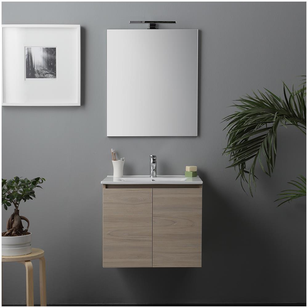 kiamami valentina mobile bagno con ante e lavabo ceramico luce a led 60 cm olmo leone eprice. Black Bedroom Furniture Sets. Home Design Ideas