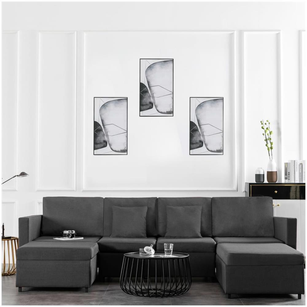Soggiorno Con Divano Grigio Scuro vidaxl divano letto a 4 posti in tessuto grigio scuro