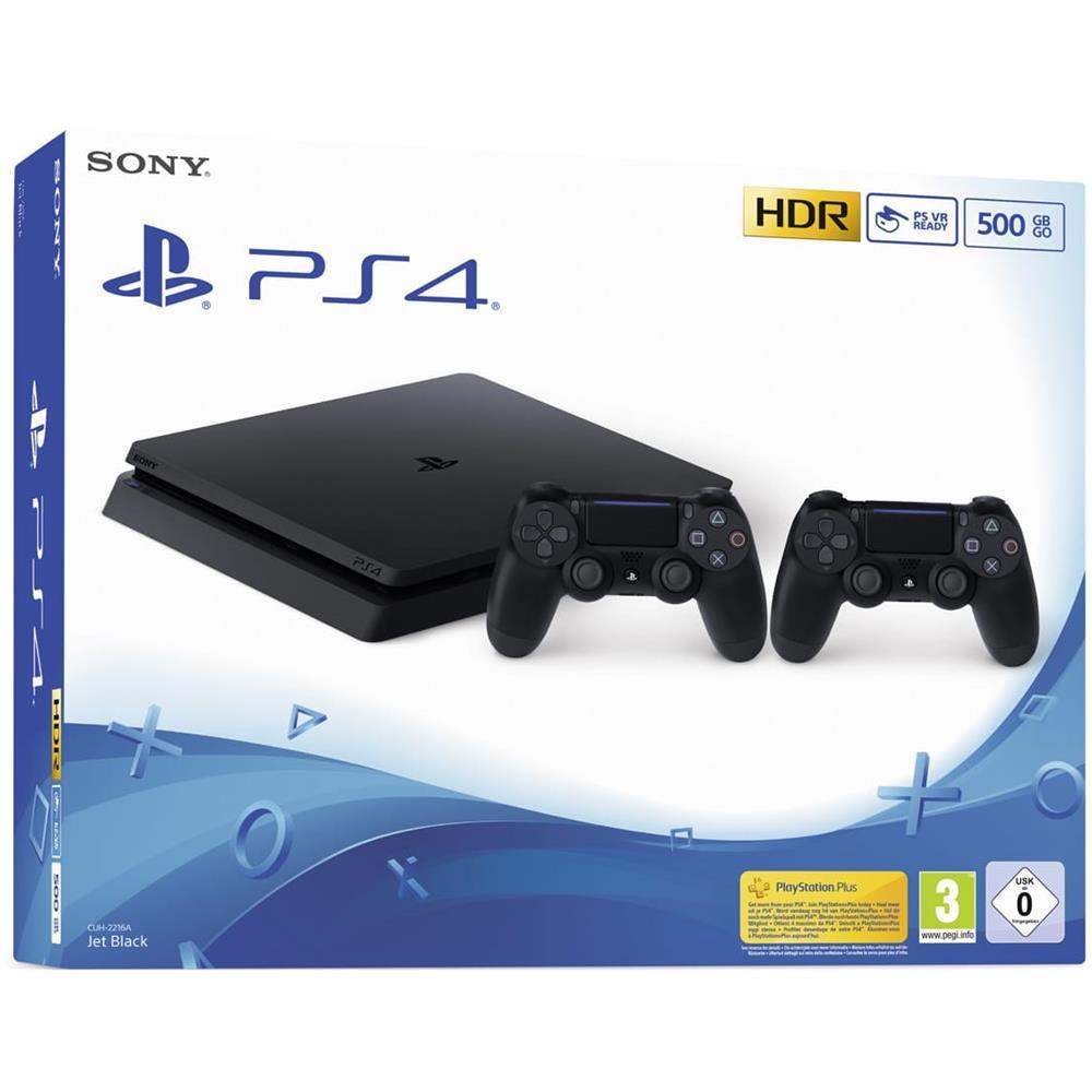 PS4 Console Slim 500GB F Chassis Colore Nero + 2xController Dualshock 4 V2 [ Edizione: EU]