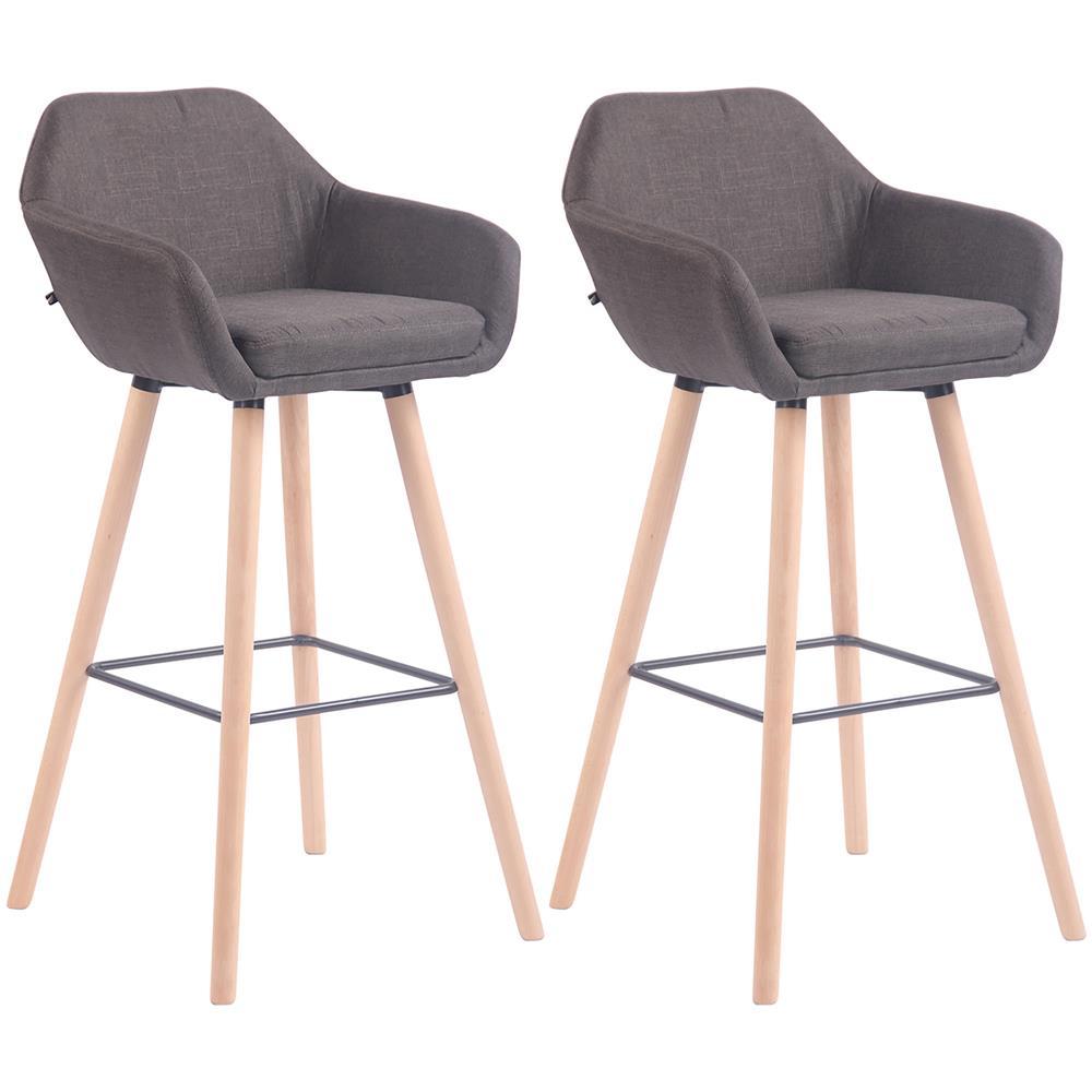 Sedie Alte Da Bar Design clp set 2 sedie alte da bar adelaide con braccioli in tessuto - coppia  sgabelli design cucina con schienale telaio in legno, h 77 cm grigio scuro