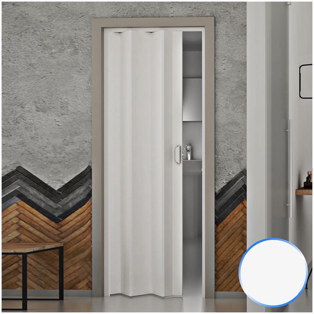 FORTE Porta A Soffietto Da Interno In Pvc Bianco Pastello 83x214 Cm Mod.  Monica