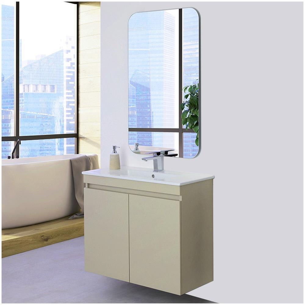 Specchio Bagno 80.Feridras Mobile Bagno Sospeso 80 Cm Slim Tortora Ante Lavabo Specchio Moderno Eprice